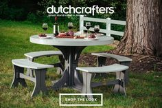 Our durable poly furniture offers a solution to outdoor living that required little to no maintenance. The vibrant colors are weather and fade resistant, while the material itself will not chip, splinter, or rot. The lifetime warranty that accompanies each piece of furniture stands to ensure many years of continued service. Our LuxCraft Round Table Poly Dining Set is available in a variety of colors. #dutchcrafters #picnictable #outdoor #summer #summertime #furniture #backyard #alfresco #home Patio Dining, Patio Table, Round Dining, Outdoor Dining, Outdoor Decor, Dining Chair, Picnic Set, Picnic Table, Dining Set With Bench