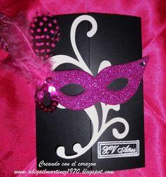 tarjetas de invitaciones para 15 años de antifaces