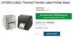 Buy CITIZEN Thermal Transfer Label Printer black @ 666 from OnlyPOS. Norfolk Island, Tasmania, Printers, Citizen, Label, Coding, Australia, Free Shipping, Color