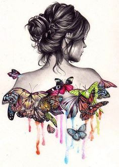 Woman with Butterflies art via Carol's Country Sunshine on Facebook