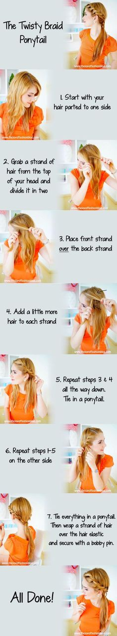 twisted braid ponytail - this actually looks pretty simple, especially now that i've mastered the french braid!