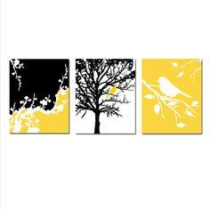 Yellow, Black, Gray, and White