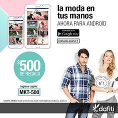 Ofertas Dafiti recibe $500 pesos de regalo Ofertas Dafiti: Aprovecha las ofertas y promociones que Dafiti tiene para ti. Donde encontrarás grandes descuentos y beneficios. Llévate $500 de regalo en tu primera compra dentro de la app de Dafiti, para descargarla ve a este enlace: h... -> http://www.cuponofertas.com.mx/oferta/ofertas-dafiti-recibe-500-pesos-de-regalo/