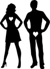 A Clip Art Silhouette of a Sexy Man and Woman Wearing Heart Patches Standing With Their Hands On Their Hips - Royalty Free Clipart Illustration Free Clipart Images, Royalty Free Clipart, Word Pictures Art, Daily Jokes, Marriage Records, Making Love, Clip Art, Woman Standing, Relationship Advice
