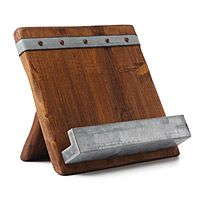 This reclaimed wood cookbook stand is from the Uncommon Goods catalog.