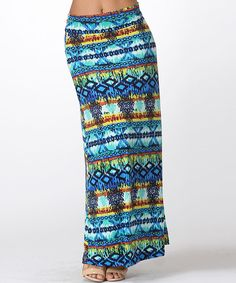 59a6741148 Look at this BOLD & BEAUTIFUL Blue & Yellow Geometric Maxi Skirt on  #