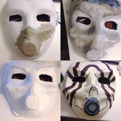 Psycho bandit mask! Paper mask + air dry clay + masking tape + mod podge + acrylic paint. DIY cosplay borderlands