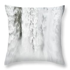"""Water Throw Pillow: Impressive Waterfall Skogafoss In Iceland With Lots Of Water. Our throw pillows are made from 100% cotton fabric and add a stylish statement to any room. Pillows are available in sizes from 14"""" x 14"""" up to 26"""" x 26"""". Each pillow is printed on both sides (same image) and includes a concealed zipper and removable insert (if selected) for easy cleaning. Matthias Hauser hauserfoto.com - Art for your Home Decor and Interior Design needs."""
