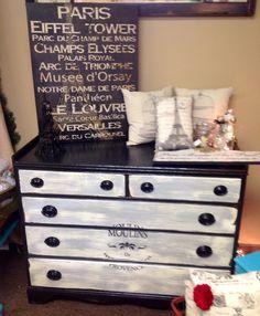 Beautiful vintage Parisian  stenciled dresser