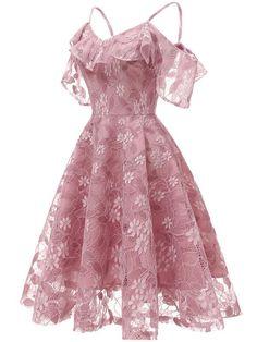 Women's Spaghetti Straps Lace Sleeveless Dress #longpromdresses High Low
