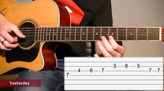 How to play Yesterday (The Beatles) / Acoustic guitar tab lesson (Melody...