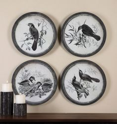 Prints Are Accented By Iron Frames Featuring A Black Undercoating With Silver, Brown And Gray Dry Brushing. Prints Are Under Glass.