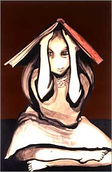 Joy Hester's 'Girl with Book on Head'. Image accompanies nice 2002 SMH piece on Australian women artists, neglected.