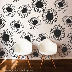 Large Sunflower Wall Pattern Decal - Wall Decal Custom Vinyl Art Flower Stickers for Nurseries, Living Rooms, Bedrooms, Kids Rooms, Schools Wall Patterns, Flower Patterns, Pattern Flower, Behr, Vinyl Wall Decals, Wall Stickers, Sunflower Nursery, Small Sunflower, Sunflower Wallpaper