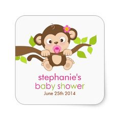 Cute Little Monkey Girl Baby Shower Sticker! Make your own sticker more personal to celebrate the arrival of a new baby. Just add your photos and words to this great design. Baby Stickers, Thank You Stickers, Round Stickers, Cute Stickers, Monkey Girl, Make Your Own Stickers, Baby Images, Little Monkeys, Personalized Stickers