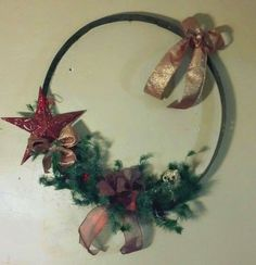 Antique Wine Barrel Ring Holiday Wreath with Red Accents and Glitz. Measures 22 inches Round. Shipping is available. $55