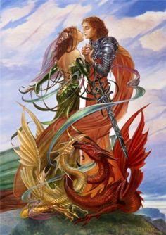 Dragon HANDFASTING Romance Card by Briar Pagan Fantasy Wedding Greeting Card