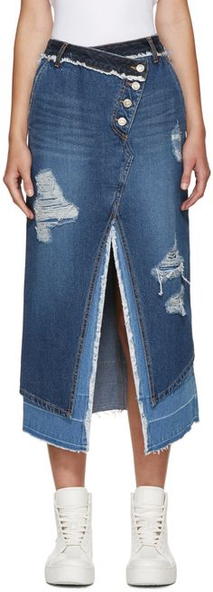 SJYP: Blue Denim Layered Skirt | SSENSE