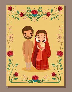 Save the date,cute indian bride and groo. Illustrated Wedding Invitations, Indian Wedding Invitation Cards, Wedding Invitation Background, Wedding Invitation Card Design, Floral Invitation, Invite, Wedding Envelopes, Beautiful Wedding Invitations, Watercolor Wedding Invitations