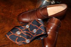 70s Brown leather moccasins silk YSL tie and XXVIII century English chocolate pot