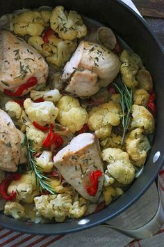 Skinny Chicken Scarpariello - chicken breast, chicken sausage, cauliflower, onion, garlic, white wine, chicken stock, rosemary