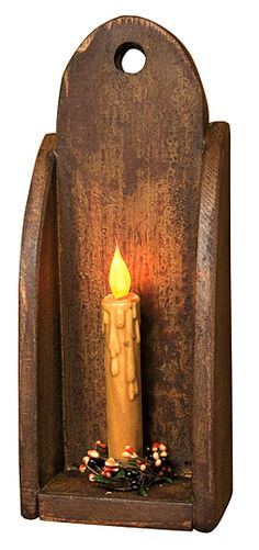 Primitive Country Folk Art Black Wood Star Candle Table Sconce Taper Holder