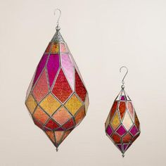 One of my favorite discoveries at WorldMarket.com: Warm Multicolor Hexagon Teardrop Hanging Lantern