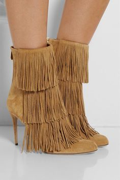 PAUL ANDREW Taos Fringed Suede Ankle Boots -    The Western boot is one of this season's most covetable styles. Crafted in Italy from camel suede, Paul Andrew gives this fringed pair a sophisticated spin with a pointed toe and a pin-thin heel. We'll be wearing ours with everything from dresses to denim.  Heel measures approximately 95mm/ 4 inches