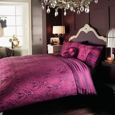 Gorgeous purple damask & striped comforter.  roomenvy - dramatic damask bedroom