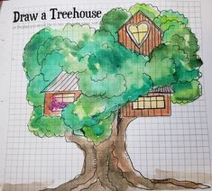 Sketchnote Summer Camp- - creating a quiet place for our quiet time - so we designed a treehouse as a place to rest.  Treehouse #1#sktechnoteboss, #sermonsketchnotes, #sketchnotes, #sketchnote, Sketch Notes, Treehouse, Drawing People, Christ, Create, Drawings, Illustration, Summer, Design