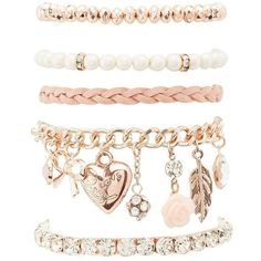 Charlotte Russe Sweet Charm Layering Bracelets - 5 Pack (19 BRL) ❤ liked on Polyvore featuring jewelry, bracelets, gold, beading charms, bead charms, lobster claw charms, charm bangles and bracelet bead charms