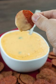 An amazingly cheesy and creamy dip with just a hit of heat. The best part is that you can enjoy it guilt-free. It's so tasty, you'll want to eat it like soup!