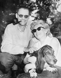 Arthur Miller and #Marilyn Monroe in Connecticut with their dog Hugo, 1956.