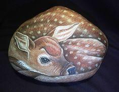 Painted Rock/ Christmas Deer Painted Stone/ Garden Art Stone/