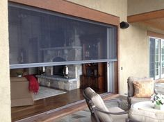 Sliding pocket doors opened to 12. Lower the Retractable screen and bring the o