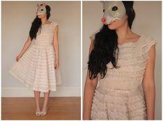 Vintage 50s Pale Blush Pink Faux Lace Ruffled by animalheadvintage, $425.00