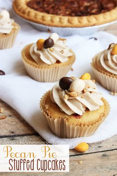 Pecan Pie Stuffed Cupcakes - Yellow cake mix with pecan chips and M&M's® Pecan Pie in the batter, topped with cinnamon maple buttercream frosting. The perfect cupcake to welcome fall! #BakeInTheFun #ad