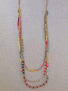 Bead Necklace Boho Bohemian Statement Tribal Gold Seed Bead Statement Necklace Seed Bead Gemstone Multiple Strand Layer
