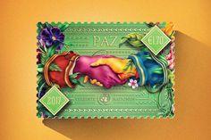 Un estudio de diseño crea sellos de correo superalegres por la paz