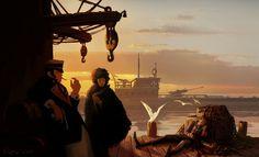 Corto Maltese Picture  (2d, illustration, landscape, ww2, nazi, submarine)
