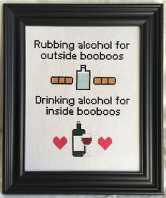 Inside and Outside BooBoos pattern modern funny witty Cross Stitch Quotes, Cross Stitch Kits, Funny Cross Stitch Patterns, Crochet Cross, Filet Crochet, Cross Stitching, Cross Stitch Embroidery, Subversive Cross Stitches, Sewing Projects