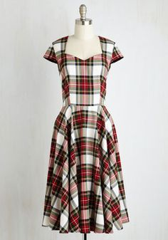 Stop Staring! Pine All Mine Dress in Earthy Plaid | Mod Retro Vintage Dresses | ModCloth.com