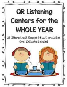 **You will need to download a FREE QR Reader on your phone or tablet to use these. You can even scan them from your computer screen to test it out. This file has over 100 books that your students can choose from at the listening station. They have been organized into themed groups for your convenience.