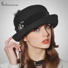 England 100% Australian Wool Fedora Hat Fashion Roll Brim Hat Black Felt Hat Feather Pearl Decoration Top Hat For Women WOW #shop #beauty #Woman's fashion #Products #Hat
