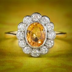 Antique Edwardian Yellow Sapphire Diamond Ring 18ct Gold 1.40ct Sapphire Circa 1905 cover Emerald Cut Diamonds, Sapphire Diamond, Diamond Cuts, Sapphire Rings, Antique Rings, Antique Jewelry, Gems Jewelry, Jewellery, Gold And Silver Rings