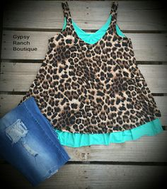 It's A Wild Ride Leopard & Turquoise Tank Top