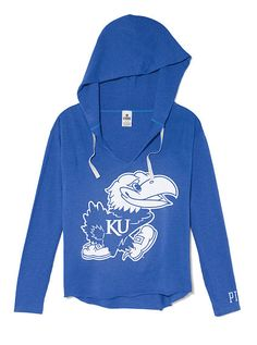 Victoria Secret Pink Kansas Jayhawks Hoodie Sweater Womens Small Blue Hooded