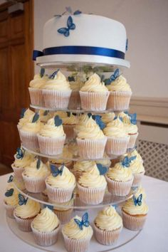 Blue butterfly  #wedding cupcakes ... Wedding ideas for brides, grooms, parents & planners ... https://itunes.apple.com/us/app/the-gold-wedding-planner/id498112599?ls=1=8 … plus how to organise an entire wedding ♥ The Gold Wedding Planner iPhone App ♥