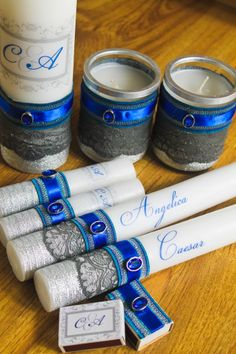 Handmade personalized unity candle set by luckymarias diy, handmade, wedding on a budget, ideas, design, dark blue, decor, candle