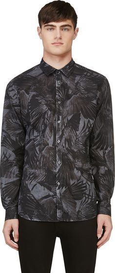 Diesel - Grey Raven Print S-Vilas Shirt | SSENSE --- That print is freakin' fabulous!